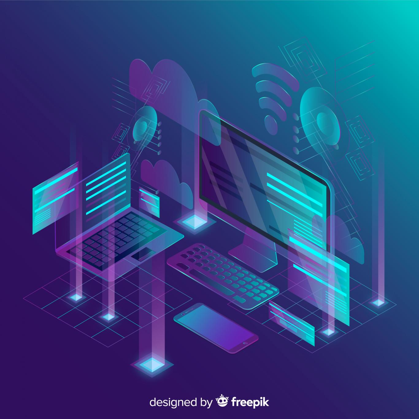 Isometric-tecnology-abstract-background